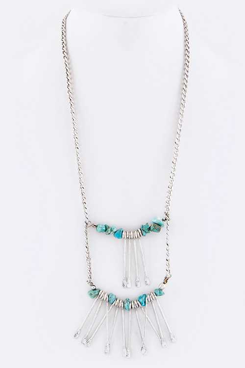 Turquoise Nuggets & Fringe Bars Tribal Necklace