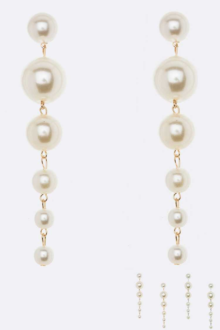 Mix Pearl Long Drop Earrings Set