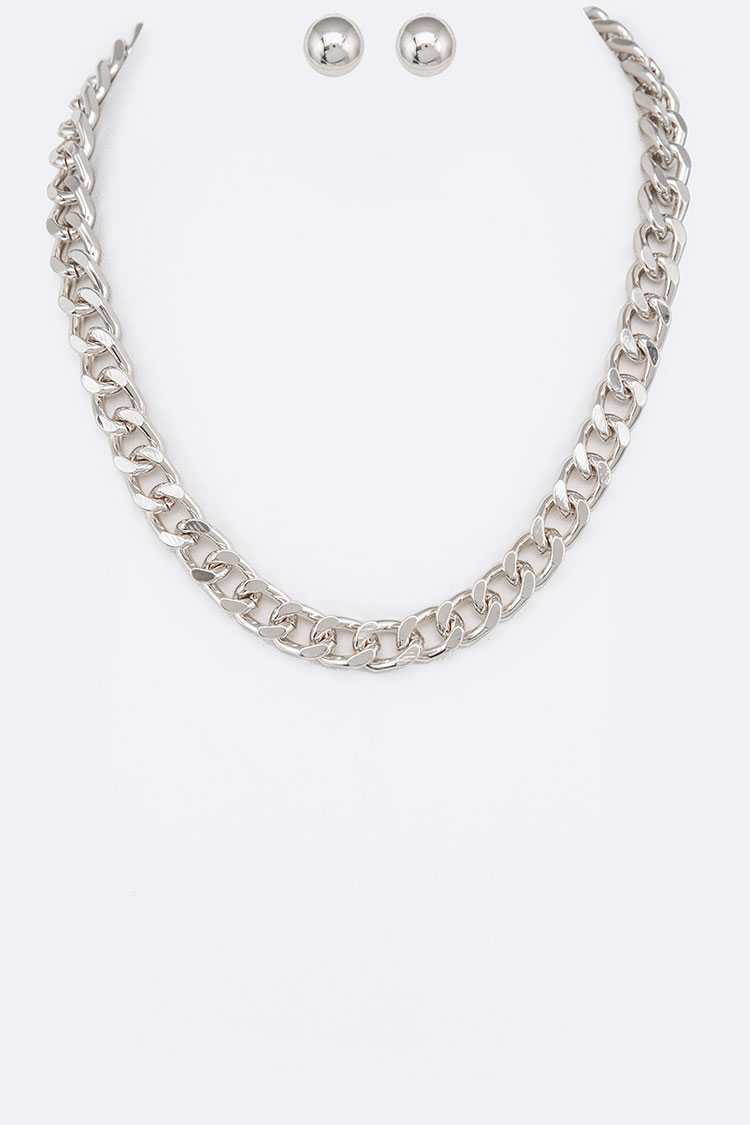 Chunky Cuban Chain Necklace Set