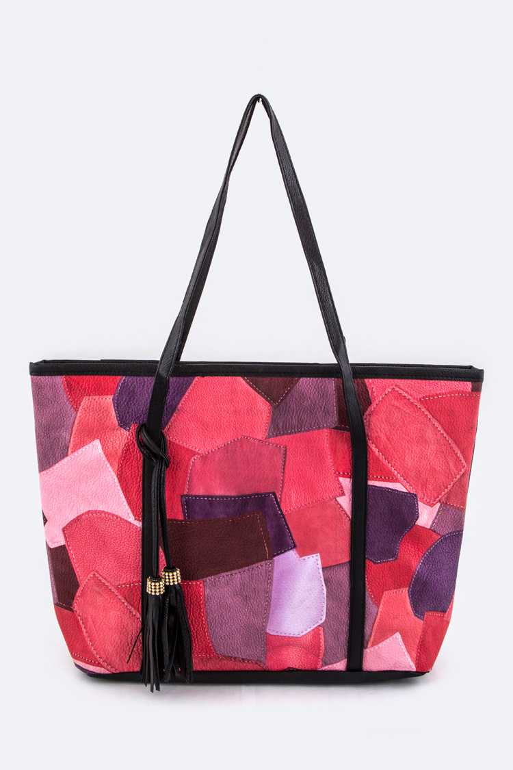 Leather Patched Design Tote