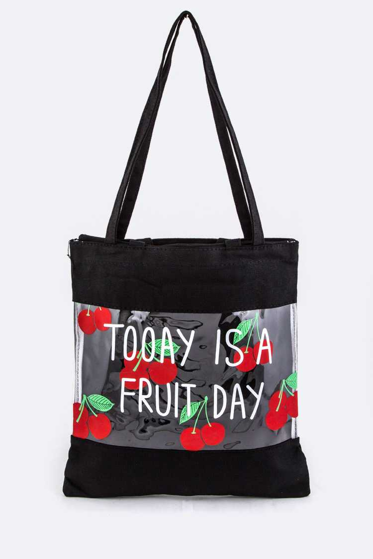 Cherry Print Clear Canvas Tote