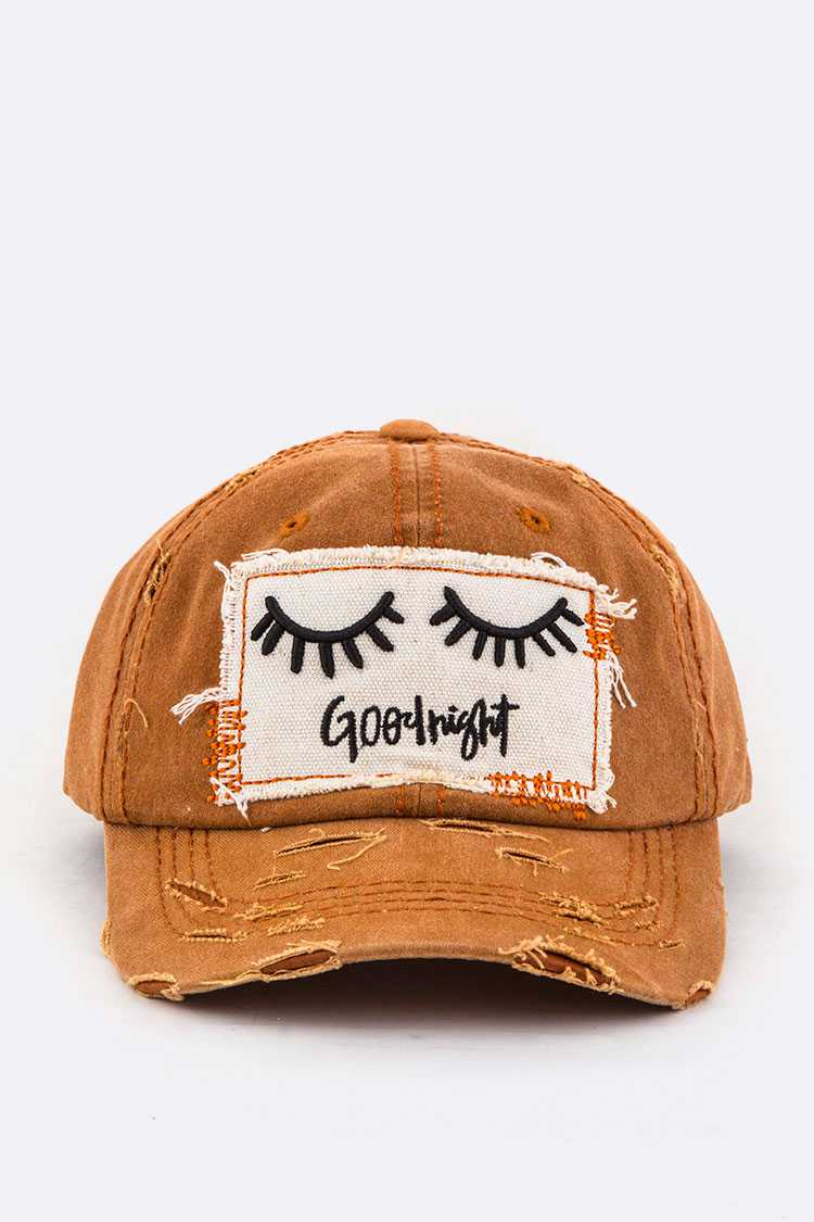 Good Night Embroidery Cotton Cap