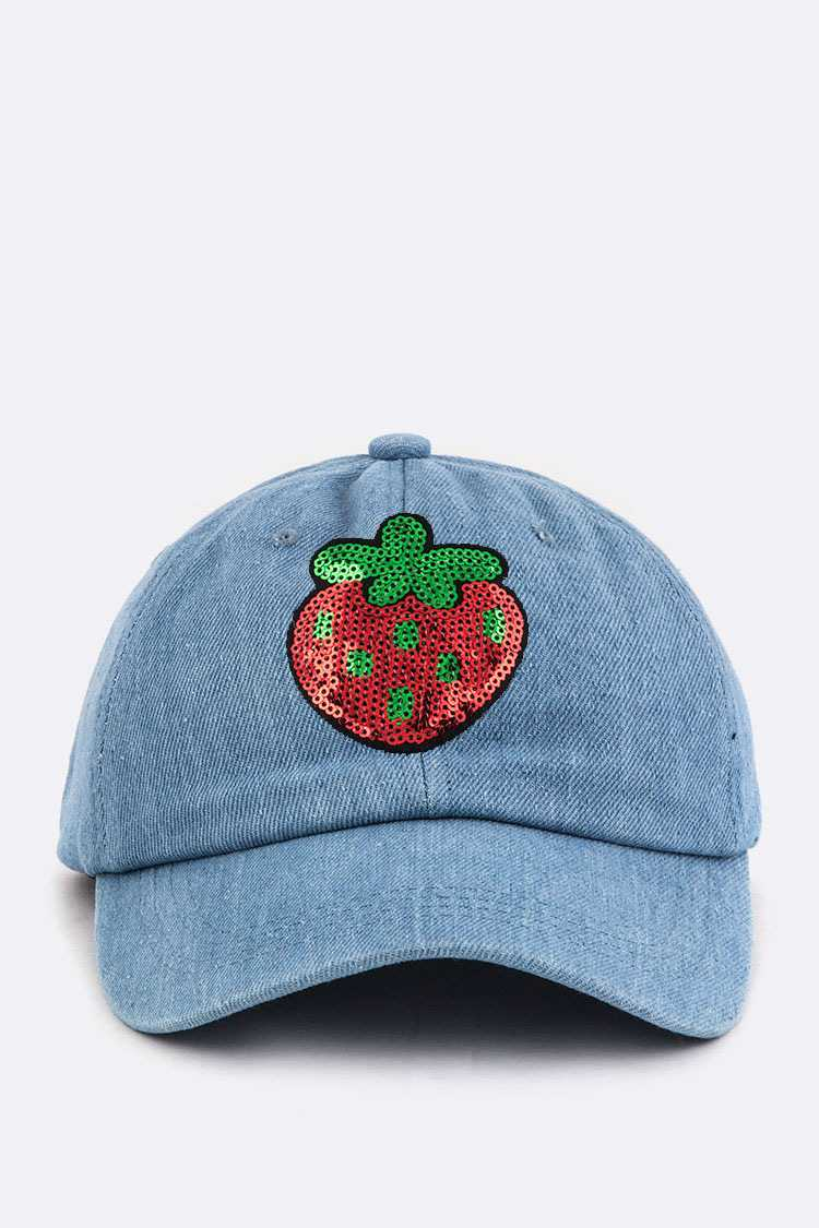 Sequins Strawberry Denim Cap