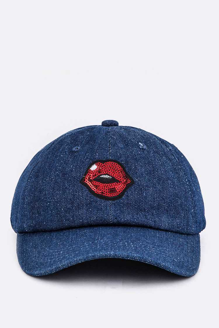 Sequins Lips Denim Cap