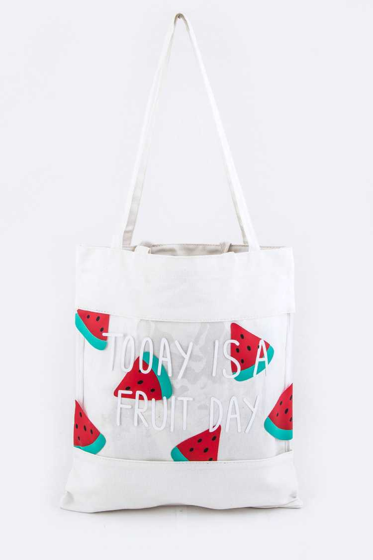 Watermelon Print Cleared Canvas Tote