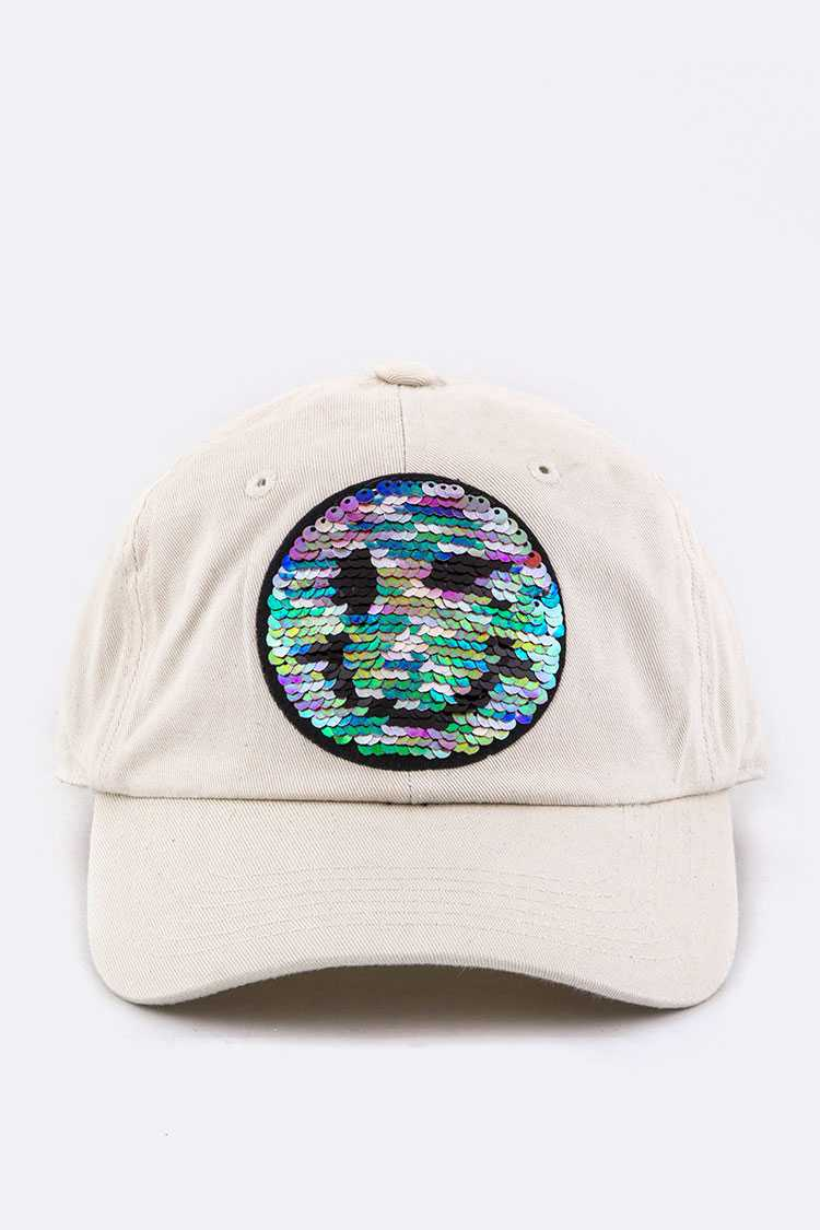 2 Tone Sequins Emoji Cotton Cap