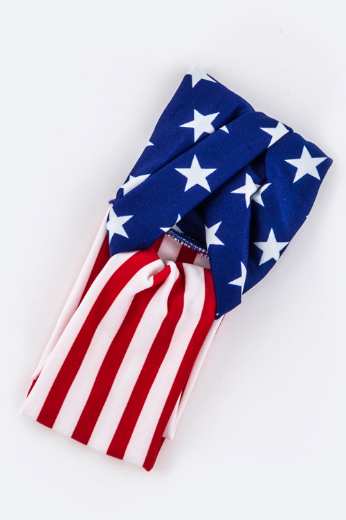Kids Size US Flag Turban Knot Stretch Headband