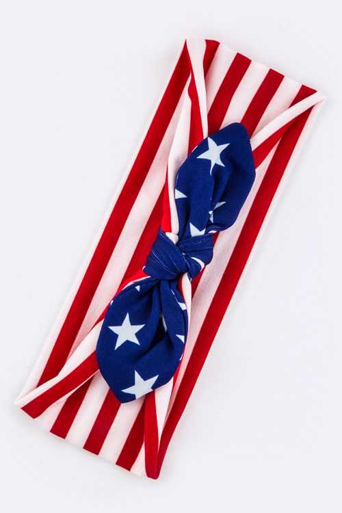 Kids Size US Flag Knotted Bow Stretch Headband