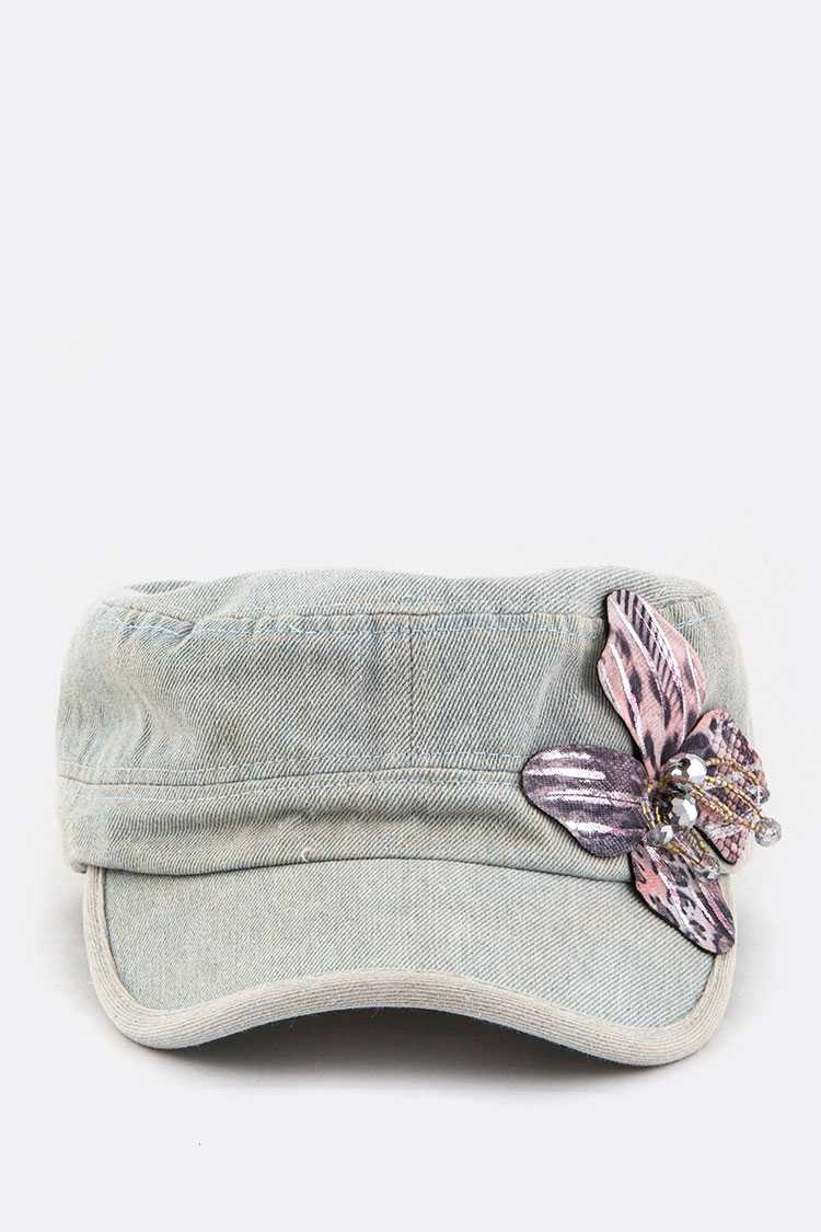 Beaded Flower Denim Cadet Cap