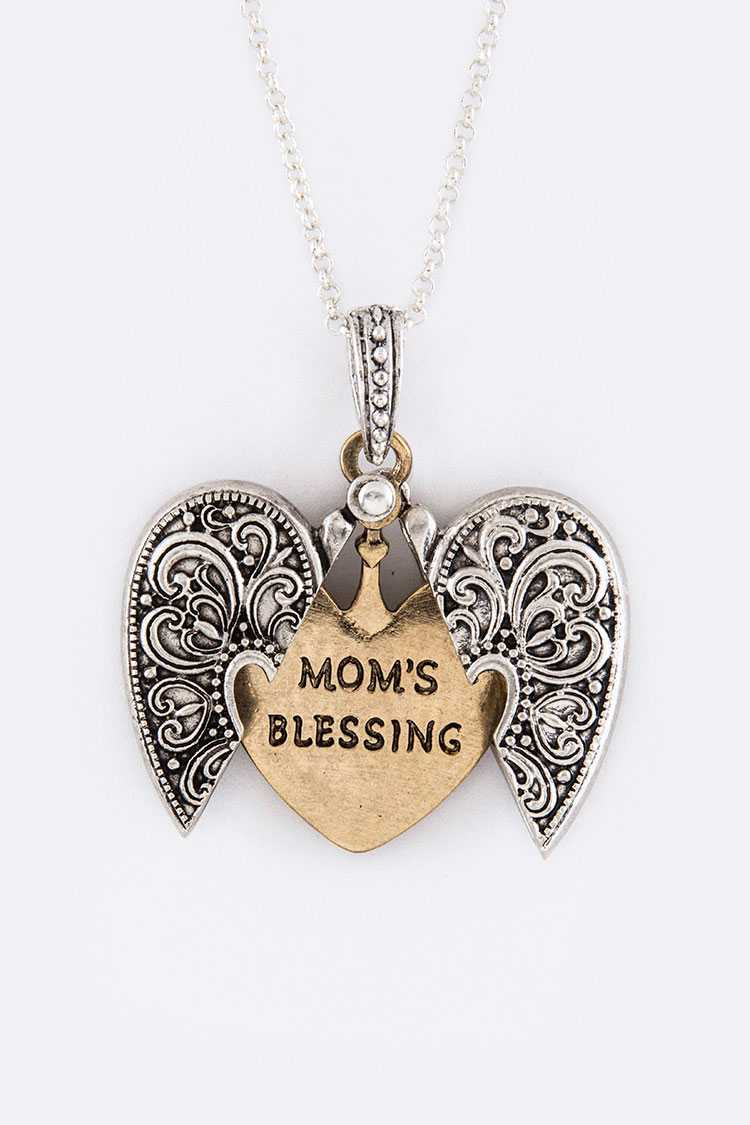 Mom's Blessing Split Heart Pendant Necklace