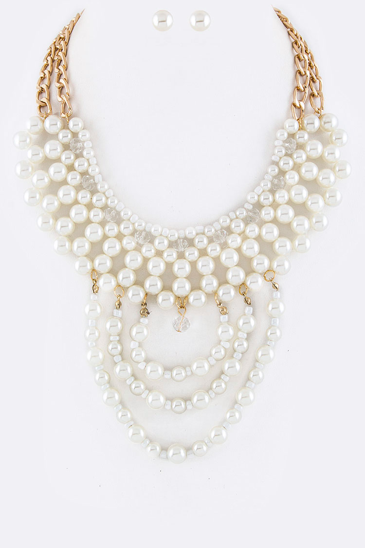 Bead & Pearl Layer Necklace Set