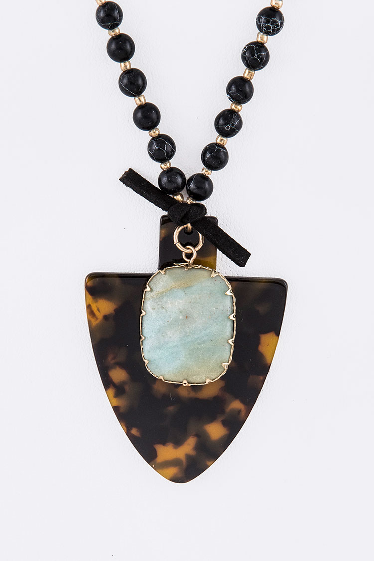 Genuine Stone Celluloid Pendant Necklace