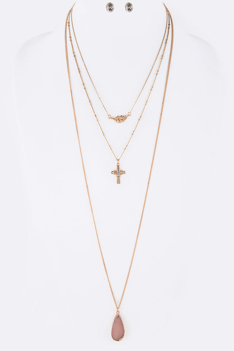 Cross & Feather Layered Necklace Set