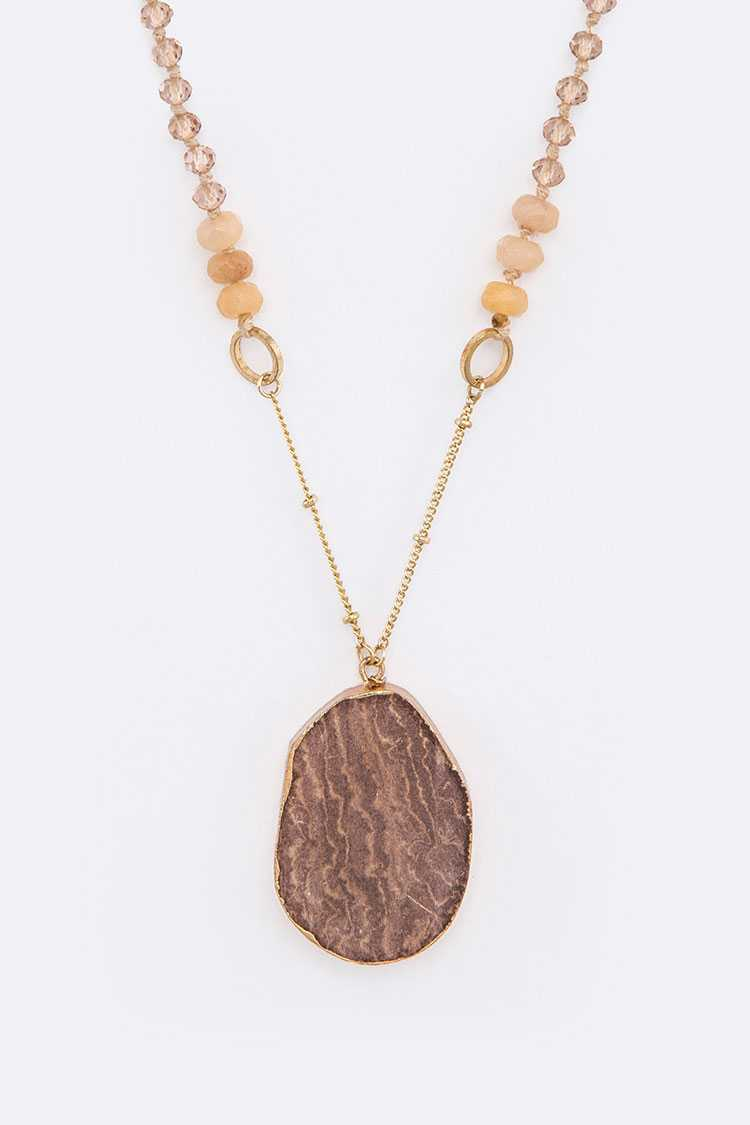 Beads & Stone Pendant Necklace