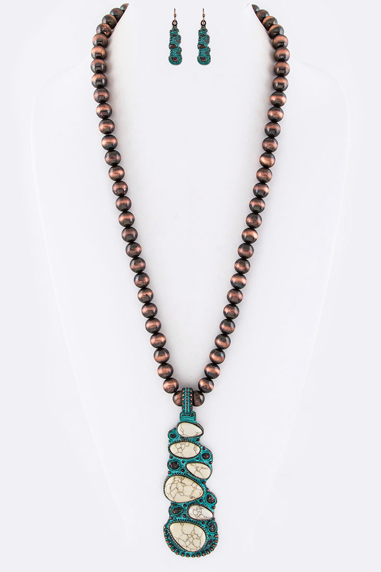 Pave Stones Pendant & Navajo Beads Necklace Set