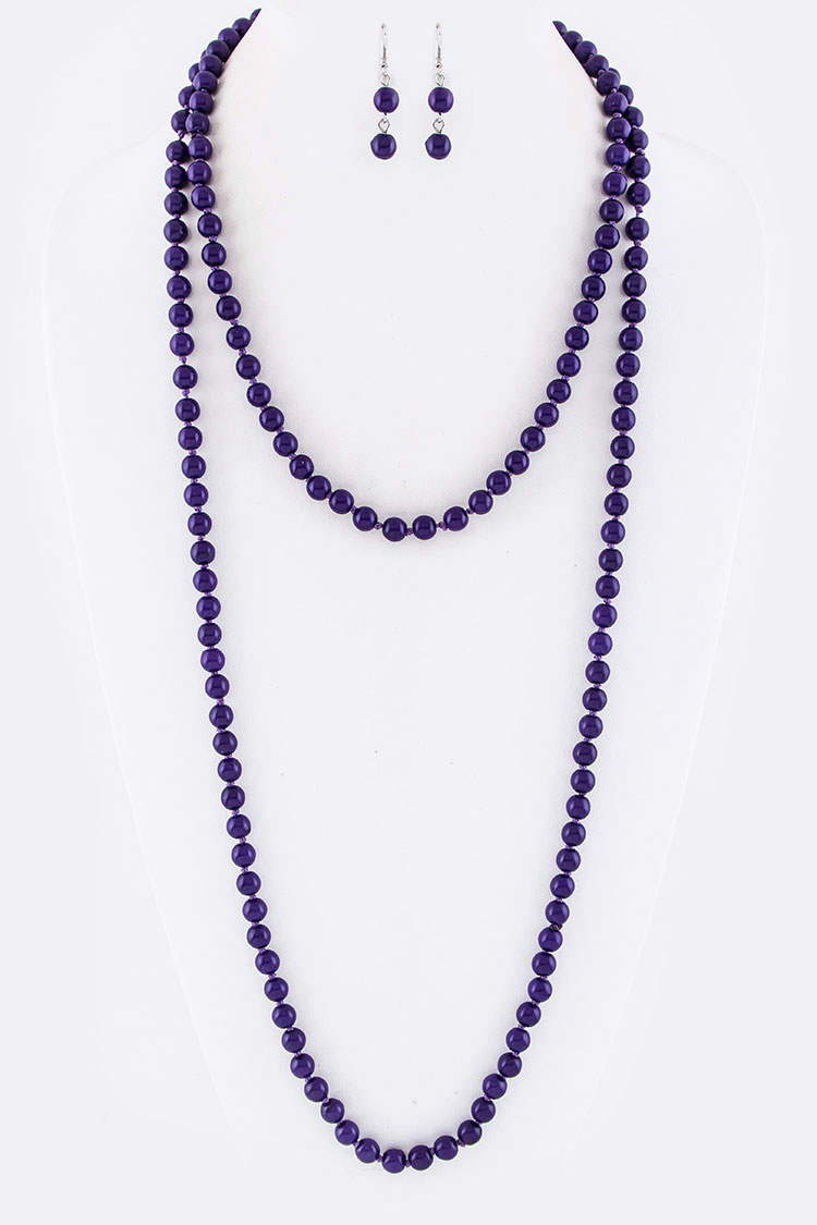 "8MM 60"" Beads Necklace Set"