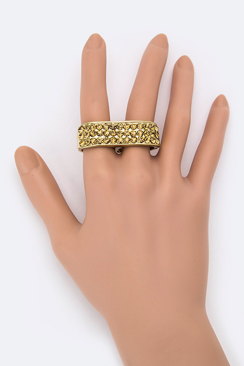 Double Finger Crystal Stretch Ring