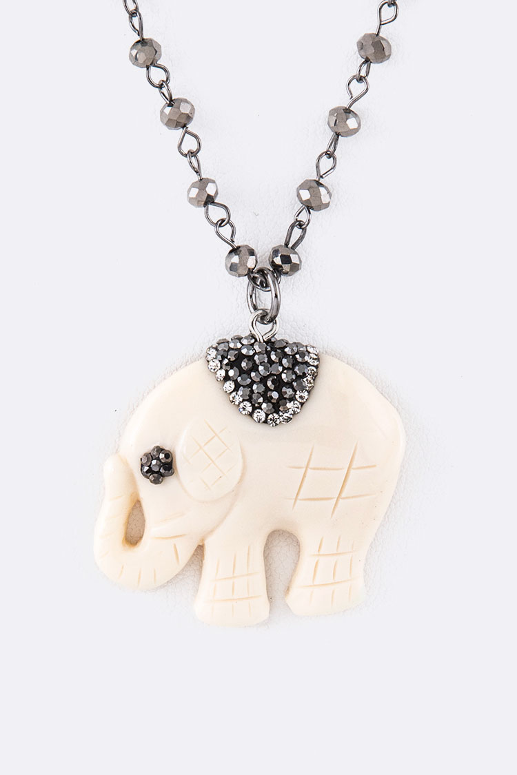 Carved Elephant Crystal Station Pendant Necklace