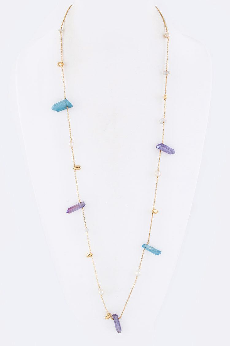 "Raw Quartz Station 36"" Necklace"