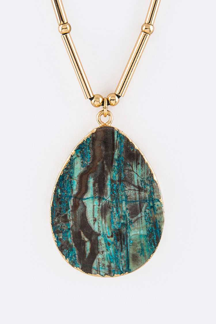 Green Jasper Teardrop Pendant Necklace