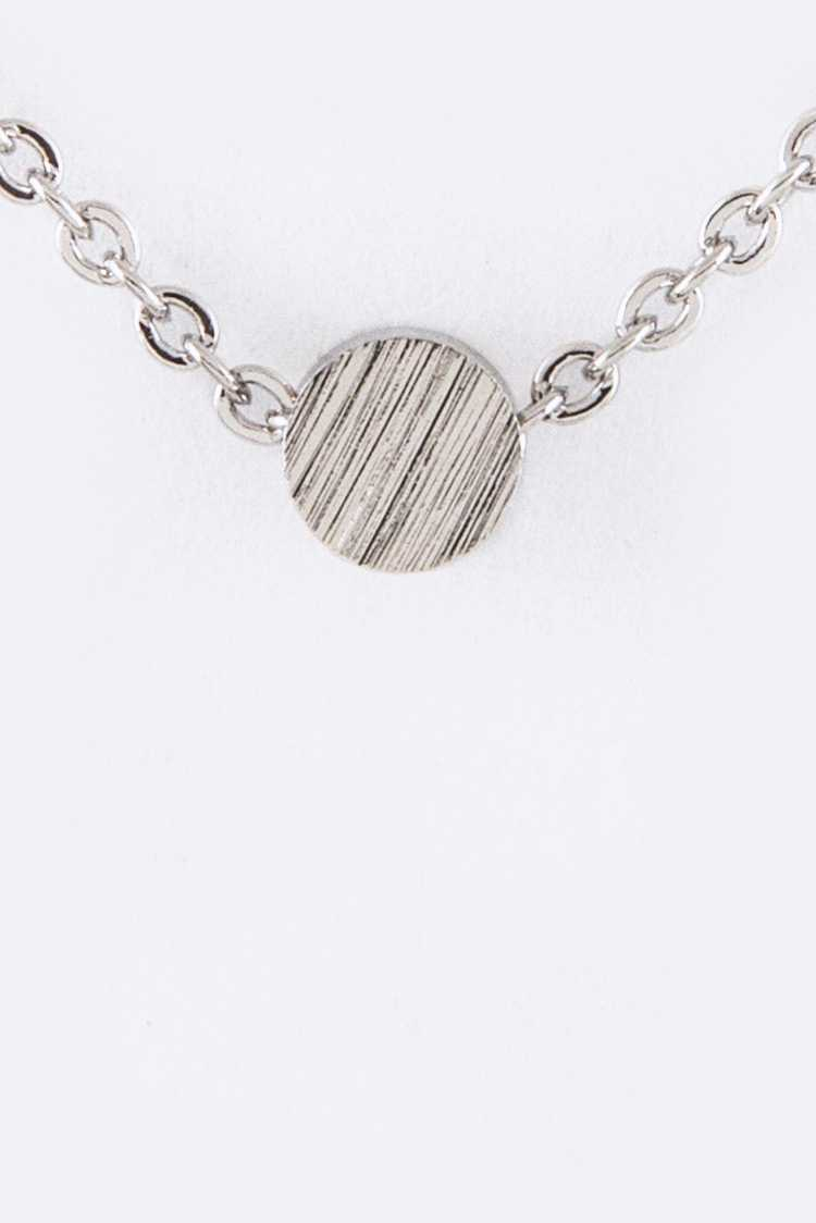 Petite Metal Disk Pendant Necklace