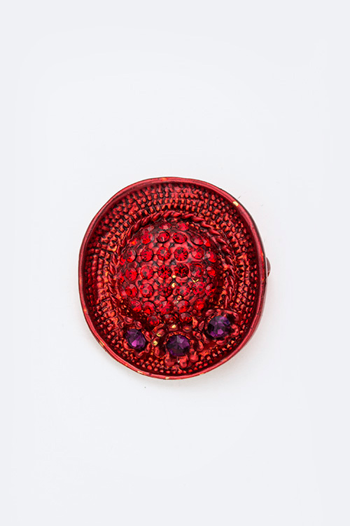 Crystal Red Hat Brooch