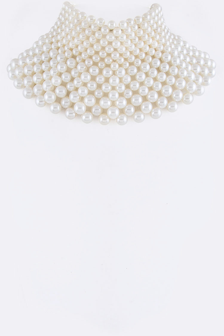 Layer Pearls Choker Necklace
