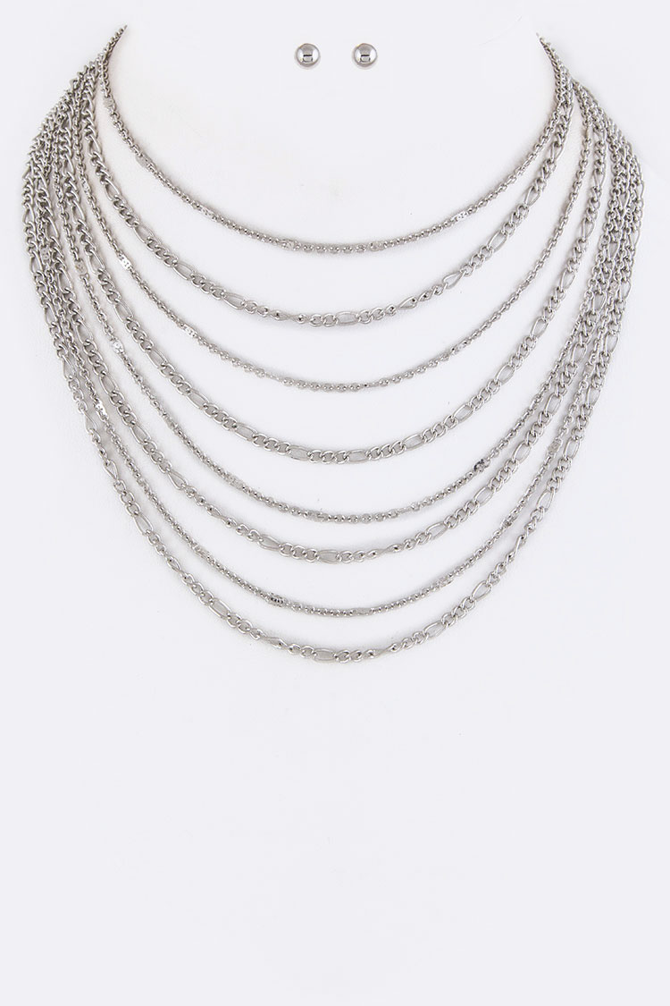 Layer Chain Choker Necklace Set