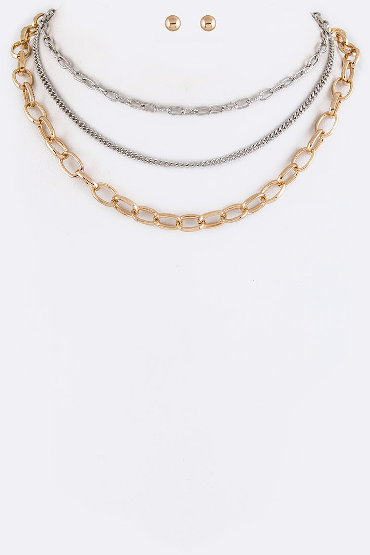 Mix Chains Layer Choker Necklaces Set