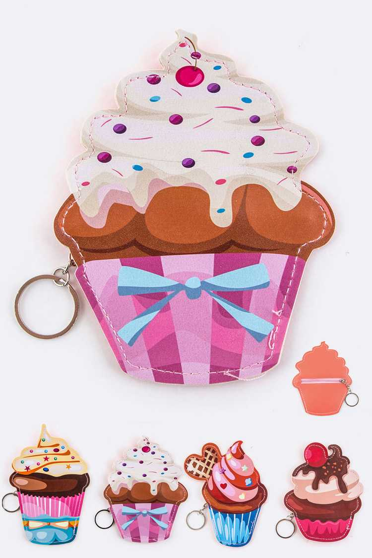 Assorted Cupcake Coin Purses Set