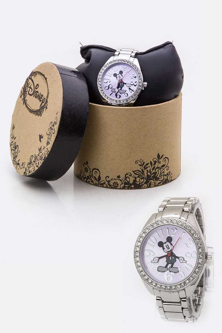 Mickey Hands Crystal Bezel Watch