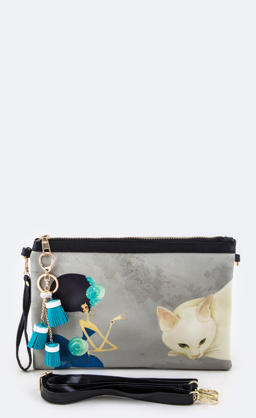 Watercolor Cat & Lady Convertible Tasseled Clutch