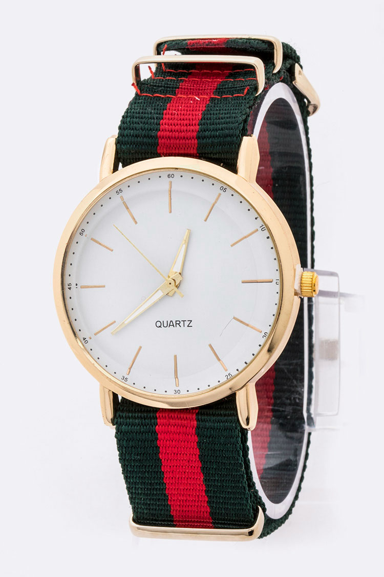Iconic Stripe Strap Classic Dial Watch