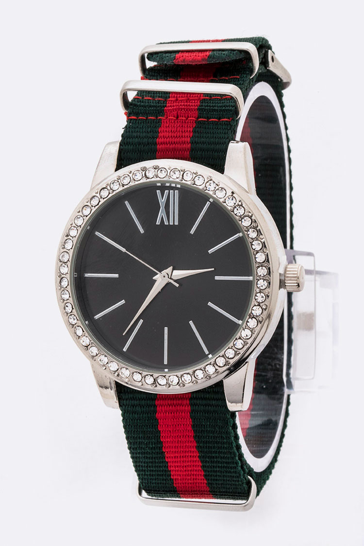 Crystal Bezel Iconic Stripe Strap Watch