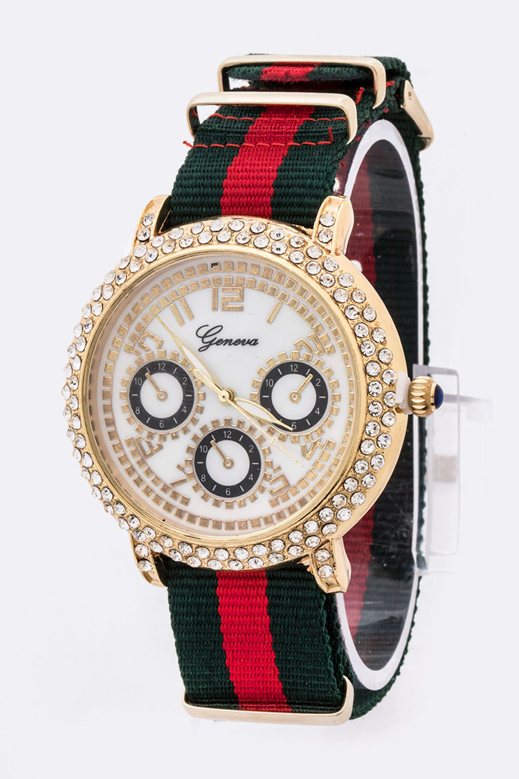Crystal Bezel Strip Strap Iconic Fashion Watch