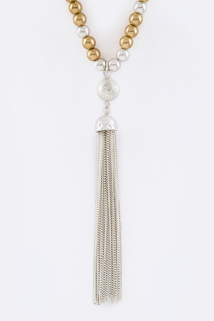 Metal Nuggets Tassel Necklace