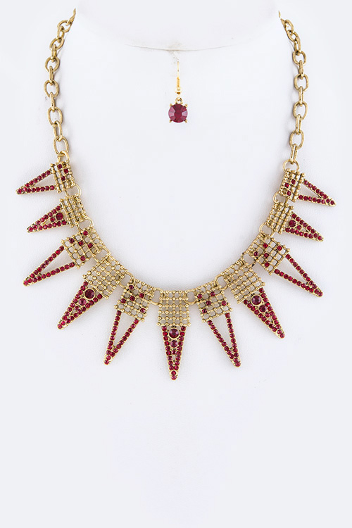 Spiky Crystals Statement Necklace Set