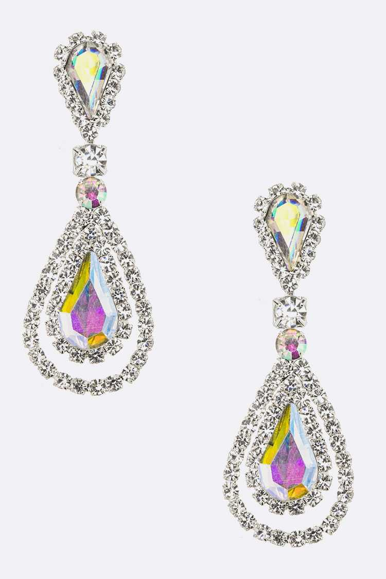 Rhinestone Color Teardrop Earrings