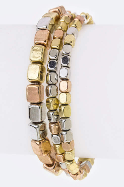 Metal Cubic Beads Stretch Bracelets Set