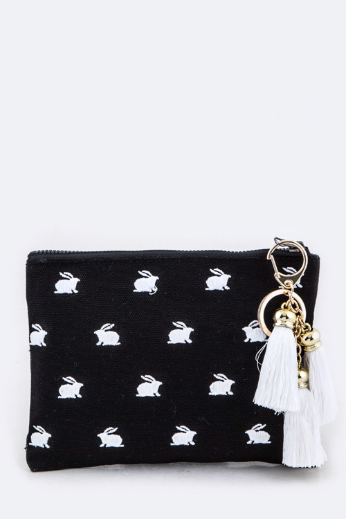 Embroidered Bunny Tasseled Canvas Pouch