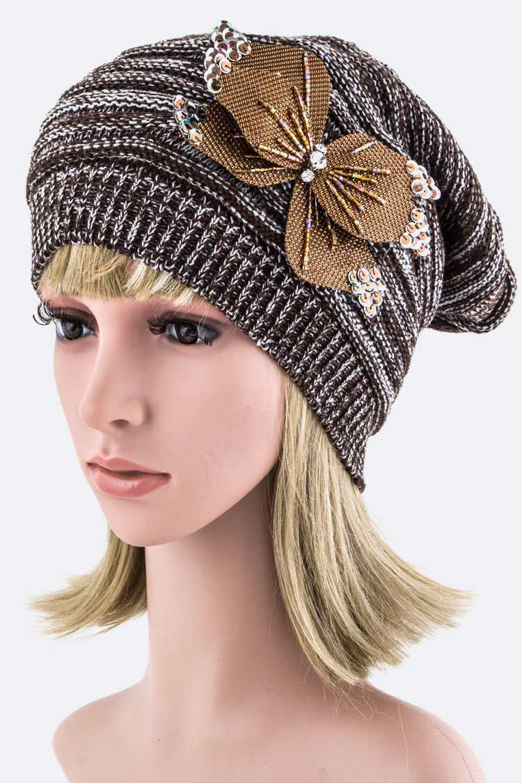 Bead & Sequins Bow Beanie Hat