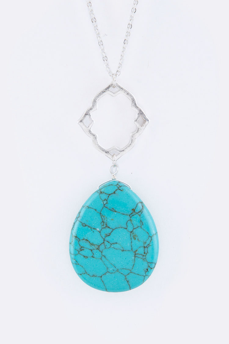 Semi Precious Teardrop Pendant Necklace