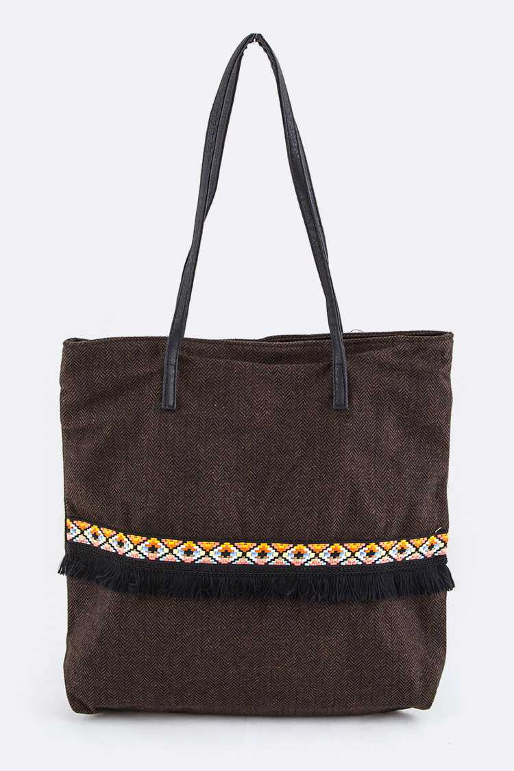 Oblique Stripes Pattern Tote