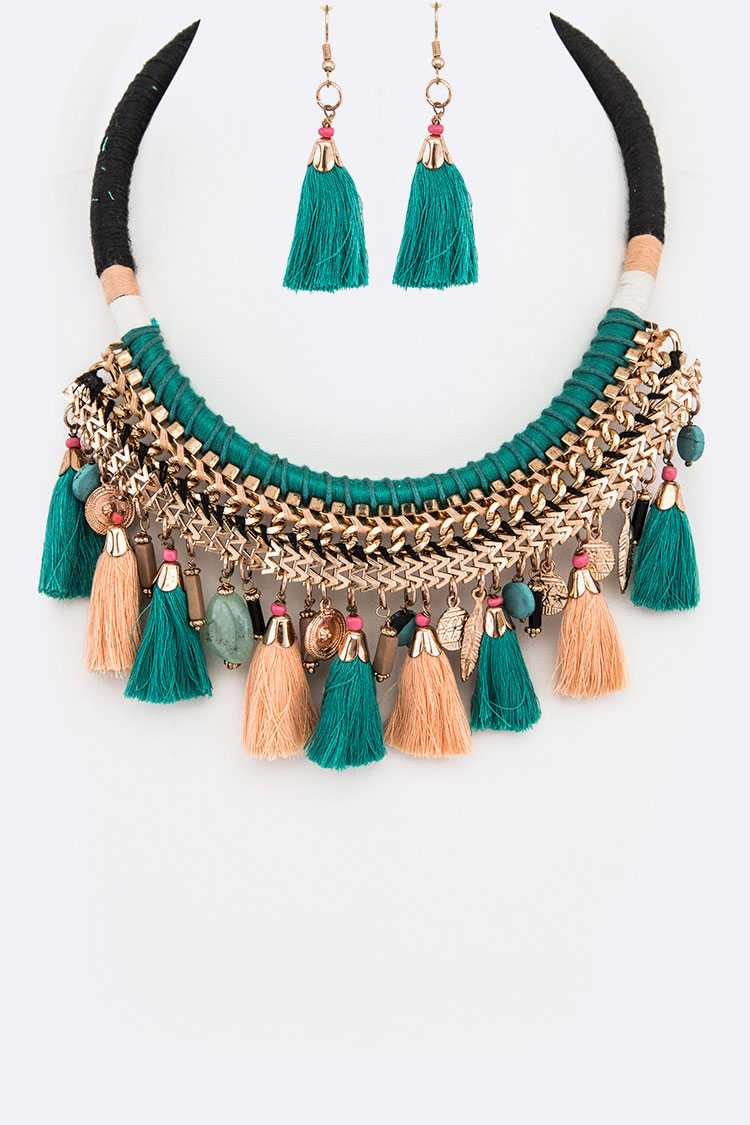Mix Tassel Statement Necklace Set