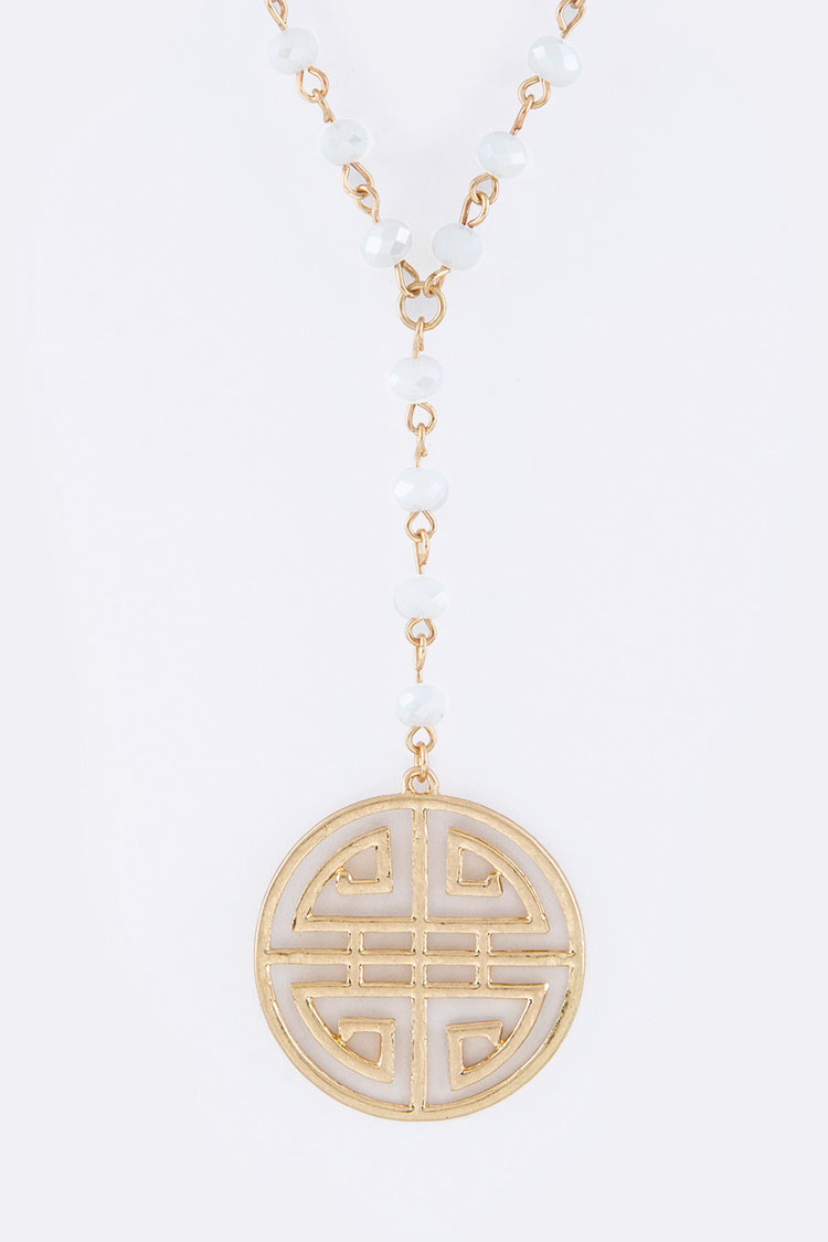 Iconic Medallion Drop Beads Necklace
