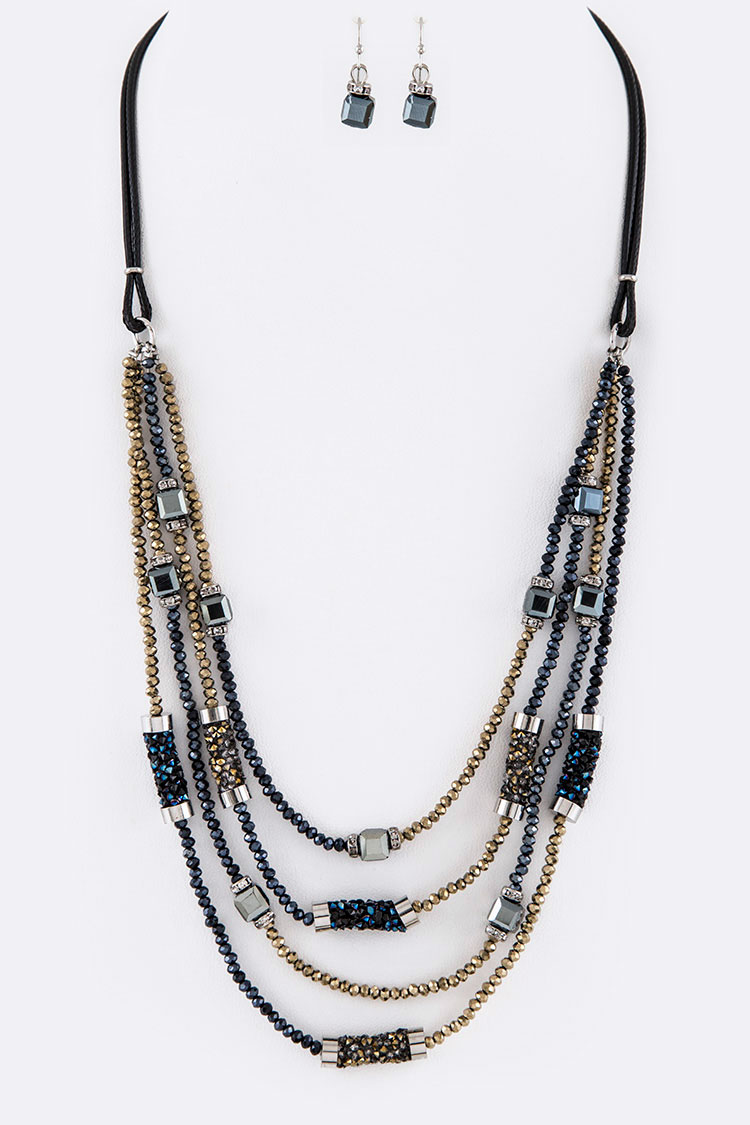 Mix Crystal Layer Necklace Set