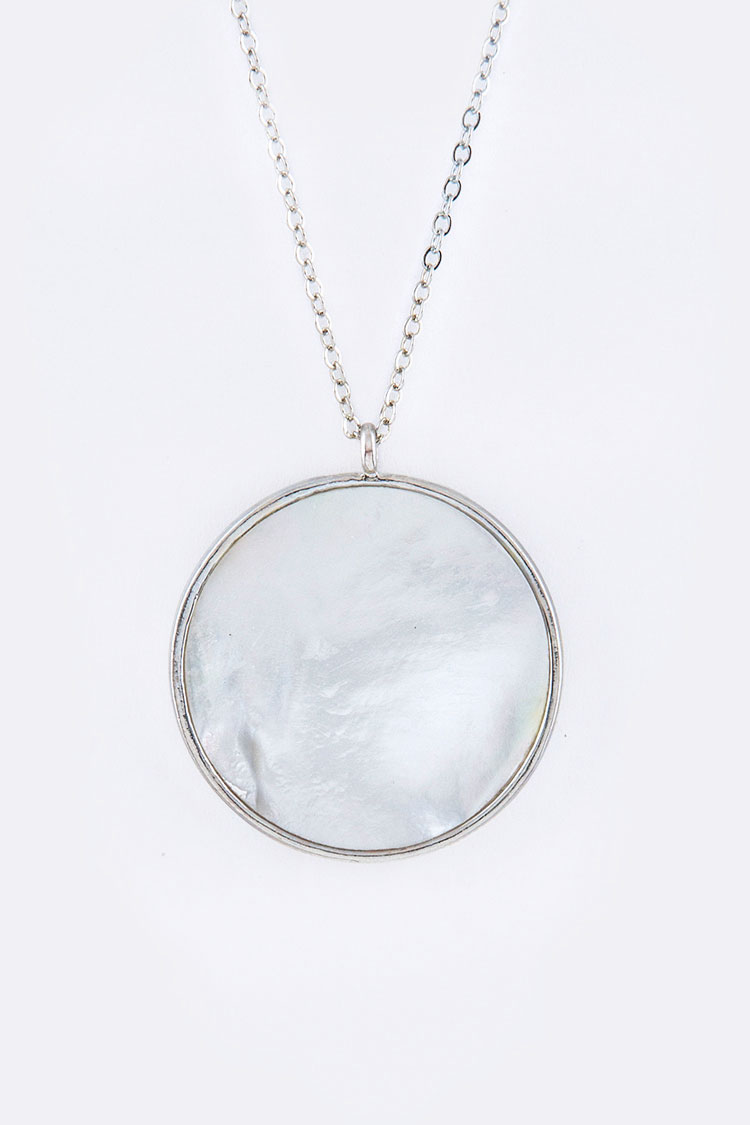Mother Of Pearl Disk Pendant Necklace