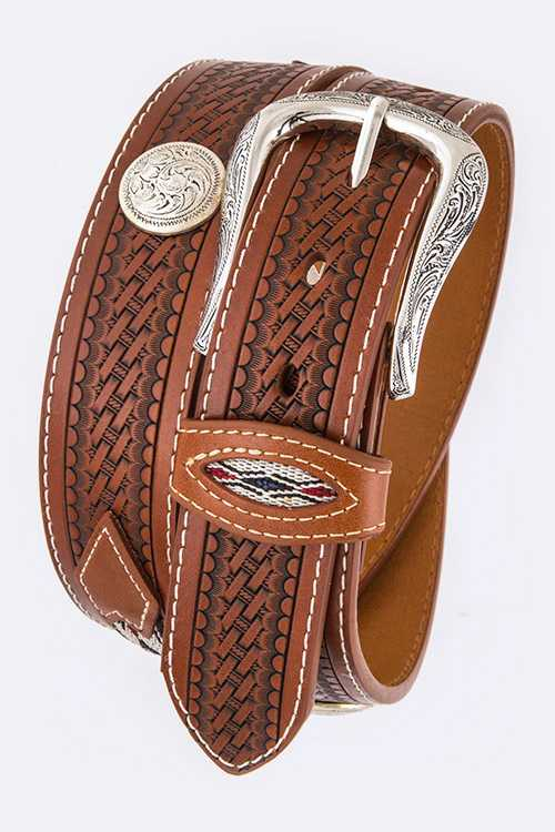 Embossed Leather Embroidered Detail Western Belt
