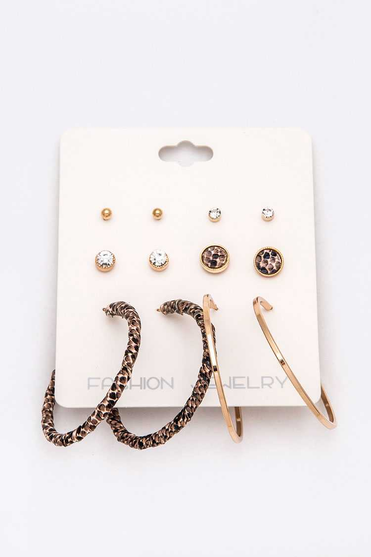 6 Pairs Studs And Hoops Set