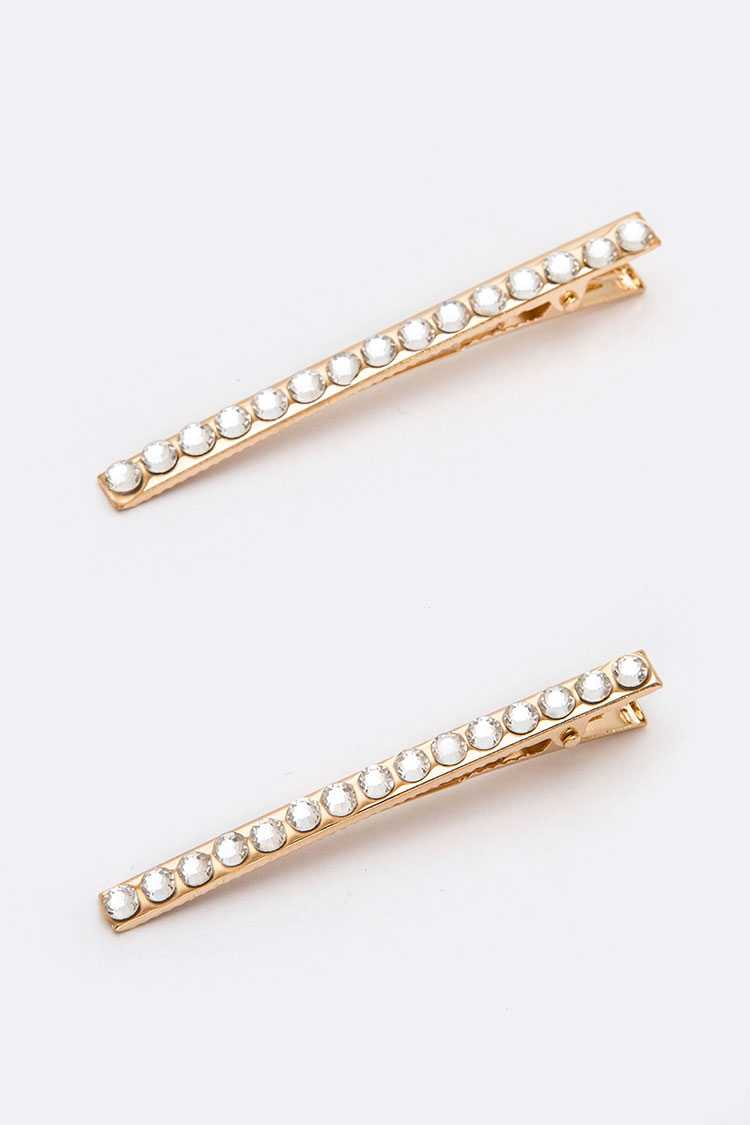 24 PC Crystal Pave Hair Clip Set